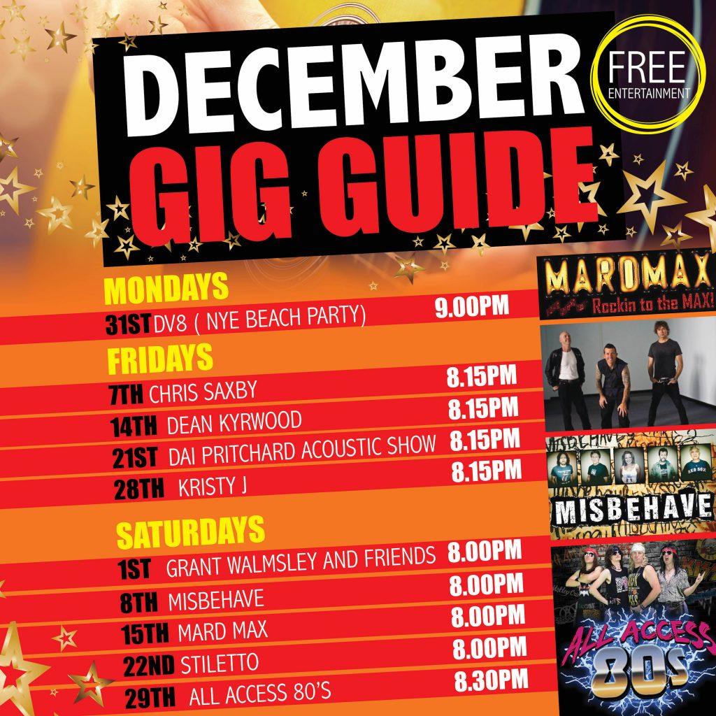 Cardiff RSL December Gig Guide