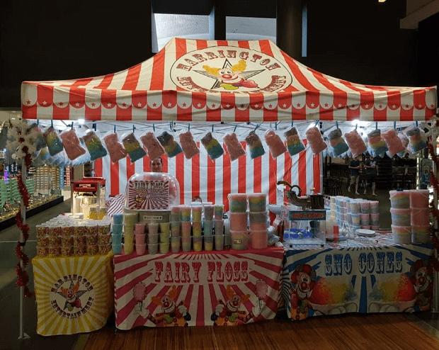 Photo of Harrington Entertainment stall setup